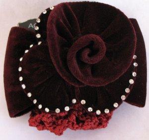 Burgundy Hair barrett Rose Crystal Bun Holder