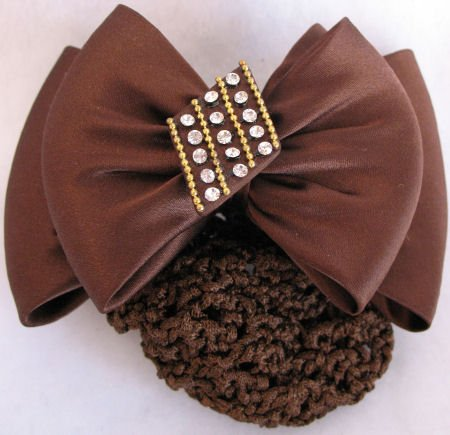 Brown Barrette Bun holder Crystal Accents