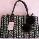Black Tweed Winter handbag bag Purse Pom Poms