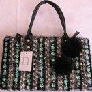 Black Tweed Winter handbag bag Purse Pom Poms