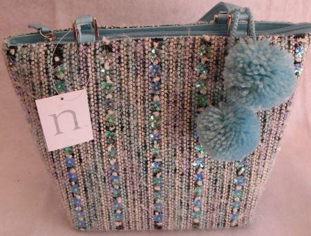 Blue Tweed Winter Handbag bag purse Pom Poms Holiday SOLD OUT