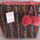 Pink Tweed Winter Handbag Bag Purse Pom Pom