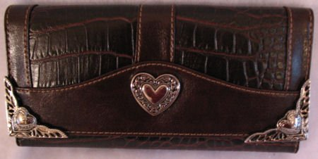 Womens Brown Croc Embossed Leather Inspired Checkbook Wallet