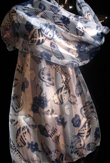 Soothing Blues Scarf wrap Belt Runner Floral fish