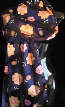 Floral Royal Blue Scarf belt wrap runner