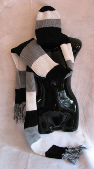 Black grey white striped scarf & Hat set scarves hats