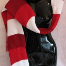Maroon Red White stripe Scarf & Hat set scarves hats