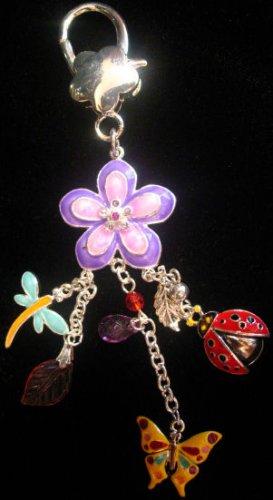Purse clip belt charm keychain accessory Flower ladybug