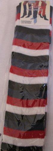 Red White Blue Stripe Leg Warmers Knee High