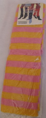 Yellow & Pink Stripe Leg Warmers Knee High