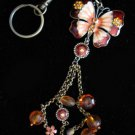 Butterfly key chain belt hook purse clip LARGE Oranges