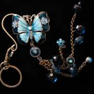 Butterfly key chain belt hook purse clip LARGE Blue