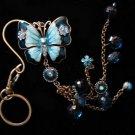 Butterfly key chain belt hook purse clip LARGE Blue