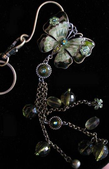 Butterfly key chain belt hook purse clip LARGE green