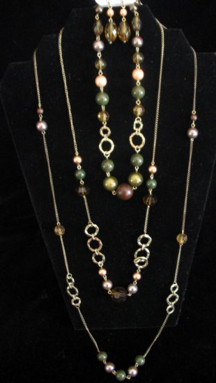 3 tier necklace set beaded with green brown peach beads
