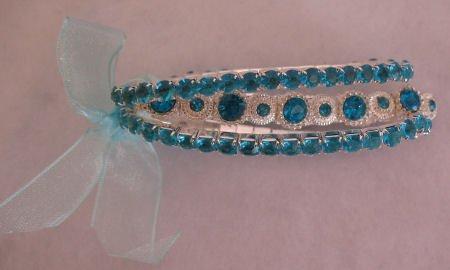 Blue Rhinestone 3 strand Bracelet Jewelry