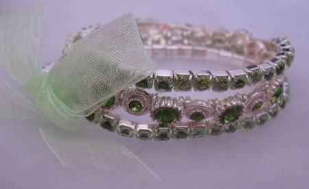 Green Rhinestone 3 Strand Bracelet Jewelry