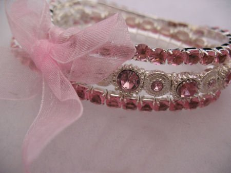 Pink 3 Strand Rhinestone Bracelet Jewelry