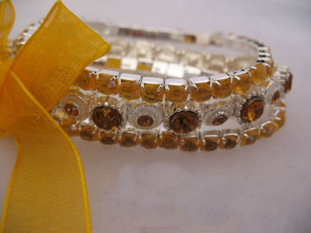 Yellow 3 Strand Rhinestone Bracelet set Jewelry
