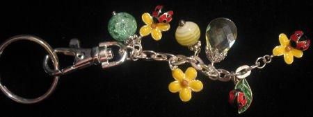 Enamel flowers ladybugs beads keychain purse belt clip