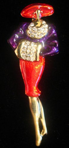 RED HAT ladies Brooch Pin Red Purple Gold Crystal
