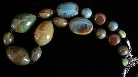Stoneware pottery Tortoise Glazed bead Necklace Jewelry