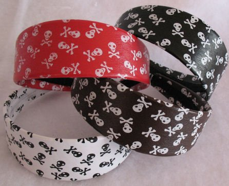 White headband Jolly Roger Skull & Crossbones NEW Item