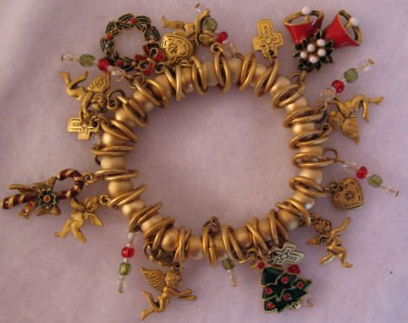 Muted Gold Christmas Charm Bracelet Jewelry