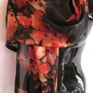 Beautiful Abstract Print Black Orange Red Scarf Scarves
