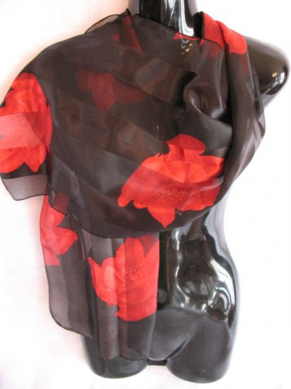 Beautiful Black & Red Large floral print scarf Scarves