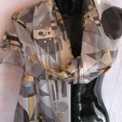 Geometric print Bluish Grays and Golden Yellow Scarf