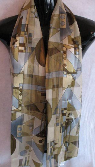 Geometric Scarf Sage Green & Blue Scarves Wrap