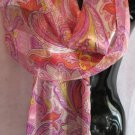 Paisley Print Pink Purple Yellow Scarf Scarves Wrap