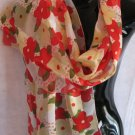 Floral Print Red Pale Yellow Olive green Scarf Scarves