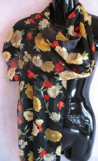 Navy Blue Floral Print Red, Gold, green Scarf Scarves
