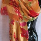 Large Floral Print Orange Red Pink Green Scarf Scarves