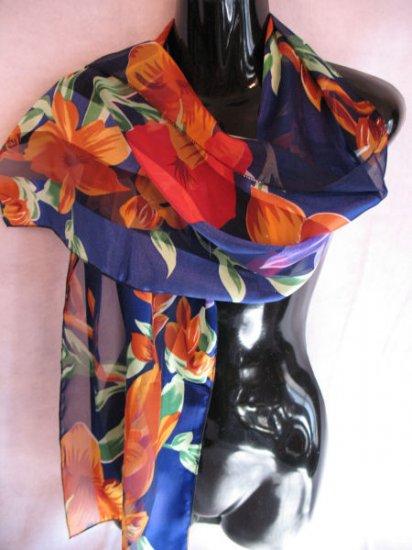 Large Floral Print Blue Red Orange Green Scarf Scarves