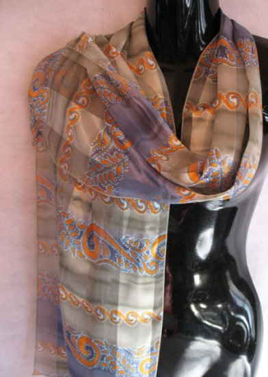 Beautiful Print Sage Green Blues Orange Scarf scarves