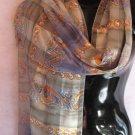 Beautiful Print Sage Green Blues Orange Scarf scarves