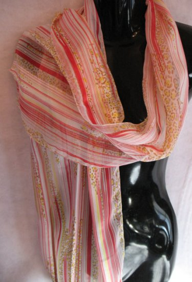 Red Yellow pink stripe cheetah Scarf scarves wrap