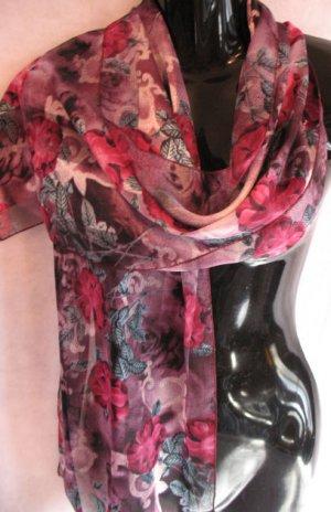 Floral Print Purple Pink Scarf Scarves Wrap