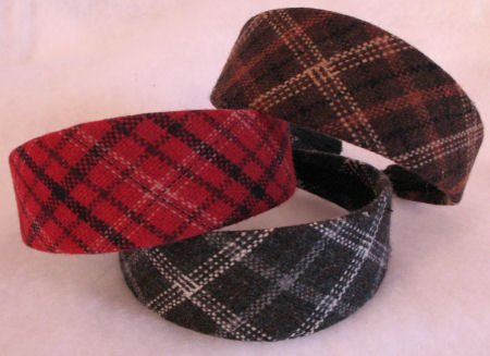 1 RED  Plaid headband Hot winter look Hair accessories