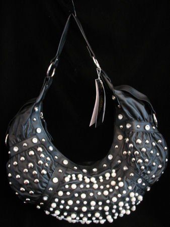 Black HoBo Handbag studded with Faux pearls ,Rhinstones