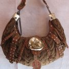 Inspired Cable Knit Tan Handbag Bag Purse Crystals stud