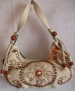 Beige Wood beaded handbag bag Purse tassel shell