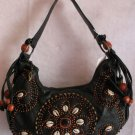 Black Pebble grain faux leather Wood beaded purse bag