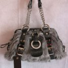Beautiful Faux grey Fur croc trim crystal accents purse Gray