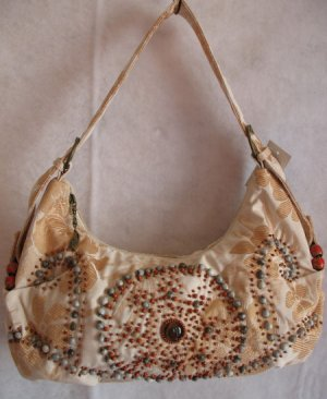 Cream & Gold Floral Fabric purse beaded design