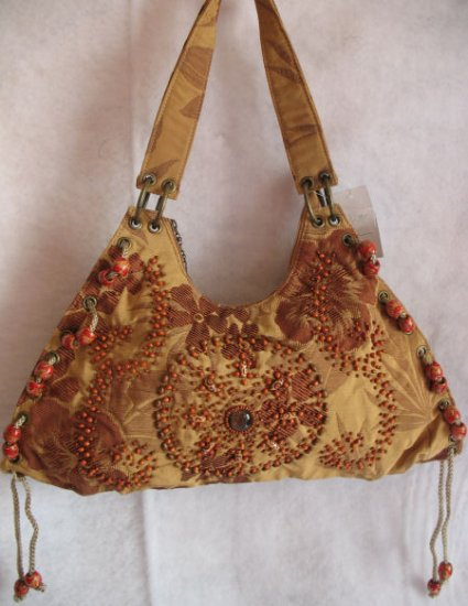 Tan Brown durable Fabric Floral print beaded purse Bag