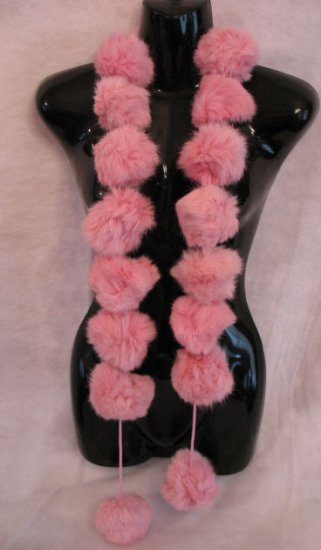 Large pink Snowball Genuine Rabbit Fur Scarf Wrap CafeBug Women's Accessories